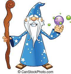 Blue Old Wizard - With Crystal Ball - A cartoon illustration...