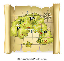 pirate map - Vintage pirate map or treasure map with island...
