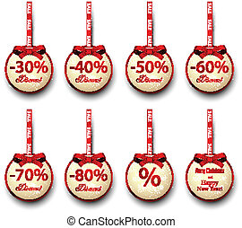 Sale labels with red gift bows. - Sale and discount paper...