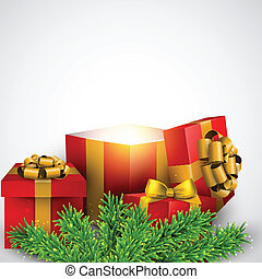 Christmas background with red gift boxes.