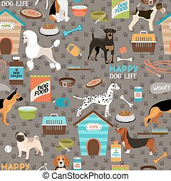 Dogs seamless background pattern - Dogs vector seamless...