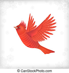 Winter Christmas Flying Bird - Winter vector Christmas card...
