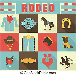 Assortment of Rodeo Themed Icons - Assortment of Colorful...