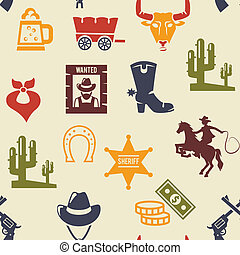 Western and rodeo seamless background pattern with colored...