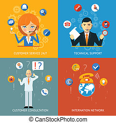 Technical Support and Customer Service Icons - Colorful...