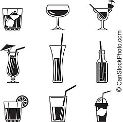 Assortment of Black Cocktail Icons on White Background