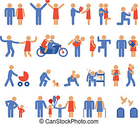 Assortment of Family and Couple Pictogram Icons - Assortment...