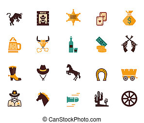 Large set of Western flat vector icons - Large set of...