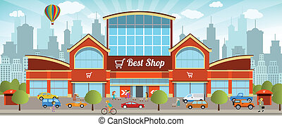 Shopping in the city - Vector illustration of shopping...