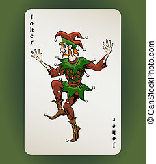 Joker card - Vector Joker playing card, colored jester on...