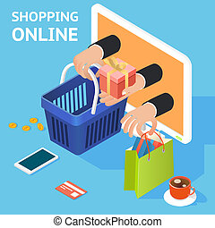 E-commerce or online shopping concept with hands reaching...