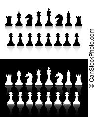 chess icons - Vector chess icons silhouettes on white and...