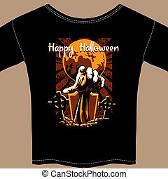 T Shirt with Halloween Zombie Graphic - Black Halloween T...