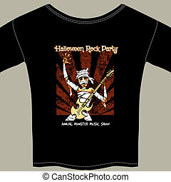 T Shirt with Halloween Rock Music Show Graphic