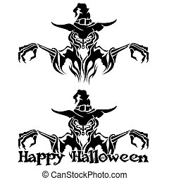 Halloween Graphic of Witch or Warlock - Halloween Graphic of...