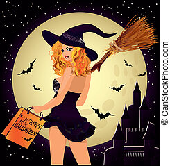 Halloween sale Sexy shopping witch - Halloween sale. Sexual...