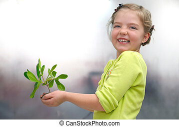 poco, niña, tenencia, pequeño, planta