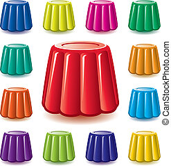 vector colorful gelatin jelly assortment - vector colorful...