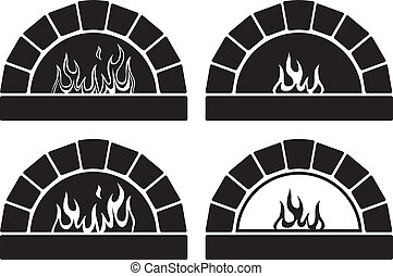 vector black and white ovens with fire - vector black and...