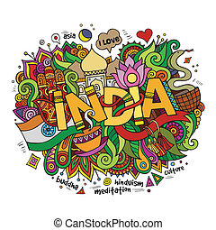 India hand lettering and doodles elements background. Vector...
