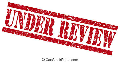 under review red square grunge textured isolated stamp