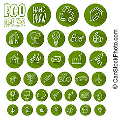 eco icon button  set isolated on white background