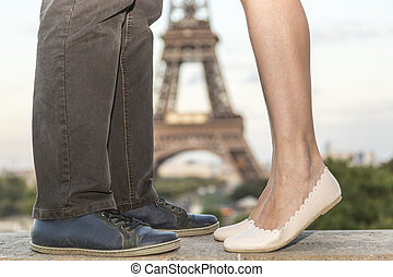 Love in Paris - Image of the Eiffel Tower in the distance...
