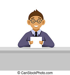 Young Man on Glasses Reading Newspaper. Vector
