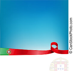 portugal ribbon flag on background