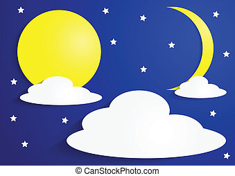 Paper full moon and crescent moon with clouds and stars,...
