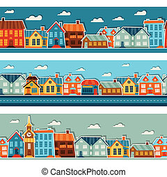 Town seamless patterns with cute colorful sticker houses.