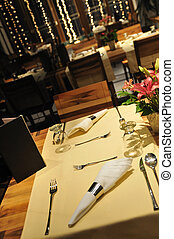 luxury modern indoor restaurant with wooden chairs and...