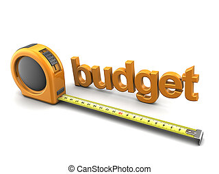budget metrics - 3d illustration of text budget and tape...