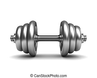 dumbell - 3d illustration of dumbell over white background