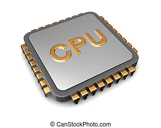cpu - 3d illustration of cpu chip over white background