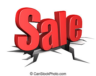 sale sign - 3d illustration of sale sign on ground with...