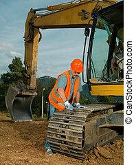repairing the excavator track