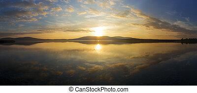 sunset on a lake - Beautiful sunset on a lake, Lapland,...