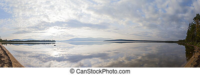 lake panorama - Panorama of big lake in Lapland, Finland