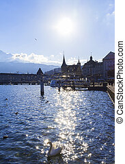 Lucerne - View of town Lucerne and river Reuss Switzerland...