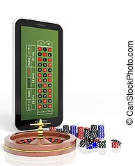 Online casino concept with tablet, roulette and chips...