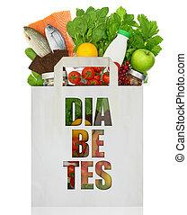 papel, saco, palavra, diabetes, enchido, saudável,...