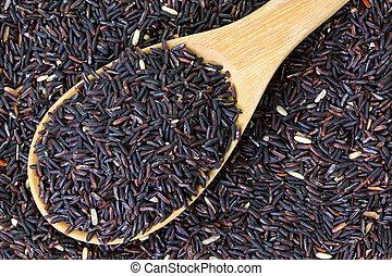Raw purple Riceberry rice - Closeup of raw purple Riceberry...
