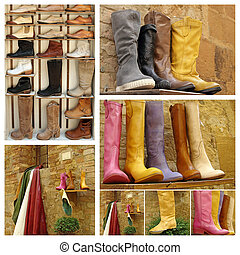 cuero, zapatos, collage