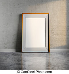 3d blank frame on white vintage brick wall