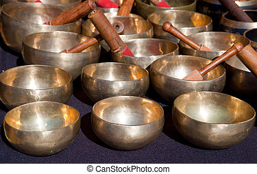 Tibetan Singing Bowls - Stall of tibetan Singing Bowls or...