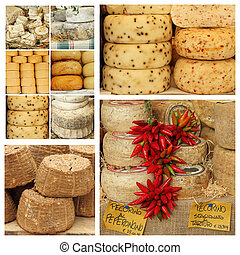 variety of italian cheese on farmers market in Tuscany,...