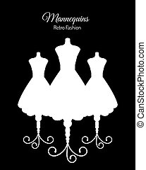 White Silhouettes of Mannequins - Fashion Background with...