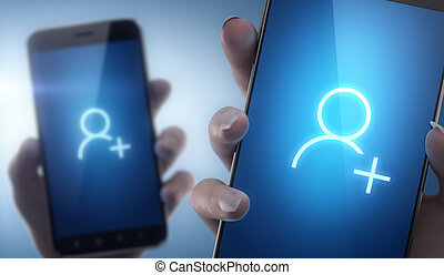 New friends with smart phone - social networking concept