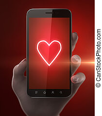 Blank smart phone with red hearth in woman hand